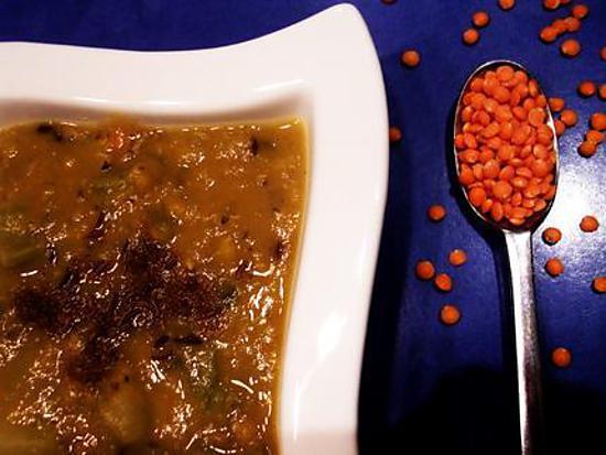recette soupe aux lentilles corails parfumée au carvi