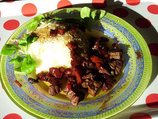 recette boeuf façon bashu(poivrons et sauce soja)