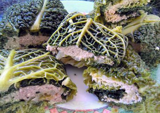 recette Paupiette de chou vert DUKAN farcie au saumon & tofu soyeux