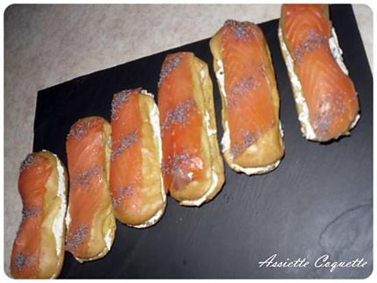 recette Eclair au Saumon Fumé et Crème St Morêt