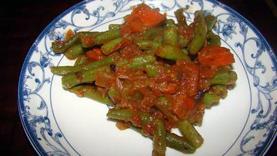 recette de haricots verts la sauce tomate. Black Bedroom Furniture Sets. Home Design Ideas