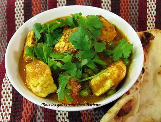 recette Curry de paneer aux pois verts (matar paneer)