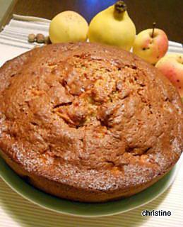 recette Gâteau au coteau du Layon, pomme-coing-noisettes
