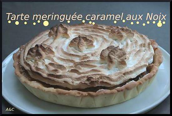 recette **Tarte meringuée caramel & noix**