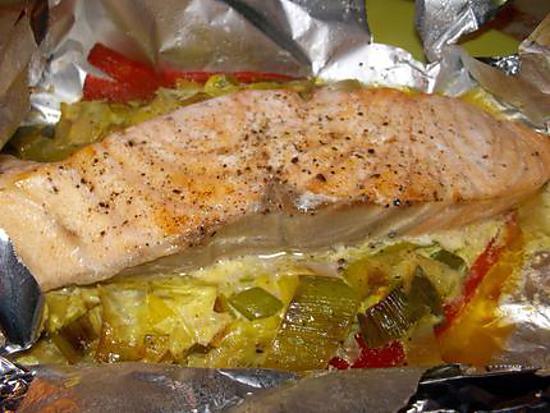 Recette de saumon en papillote par poulette33 - Saumon en papillote ...