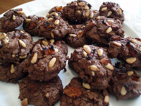 recette Cookies chocolat, pignons de pin et abricots secs.