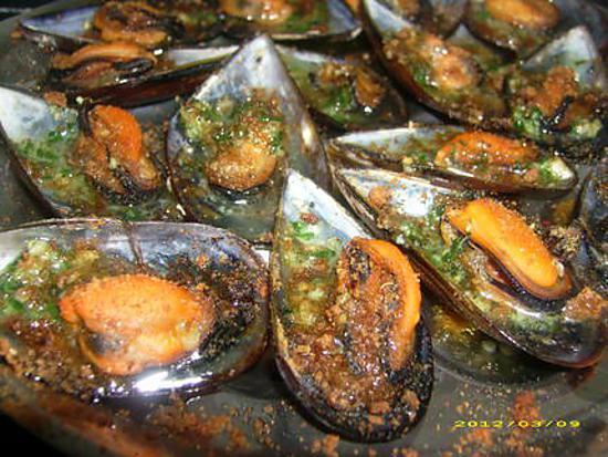 recette moules farcies en chapelure de pain d'épices (sucré-salé)