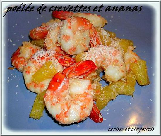 recette Poélée de crevettes à l'ananas et noix de coco