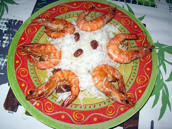 recette Gambas flambées et riz aux raisins secs