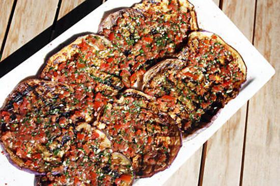Recette d 39 aubergines grill es marin es - Recettes de langoustes grillees ...