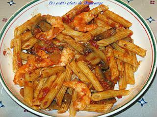 recette Penne sauce tomate et crevettes