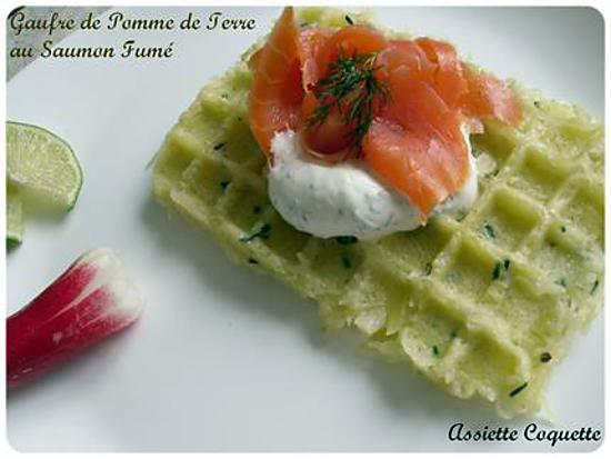 recette de gaufre de pomme de terre au saumon fum et chantilly l 39 aneth et au citron vert. Black Bedroom Furniture Sets. Home Design Ideas