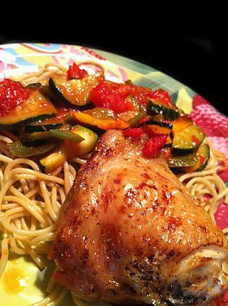 recette Poulet grillé & légumes fondants à l'Actifry !
