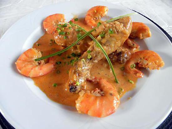 recette Poulet aux camarons (Gambas)