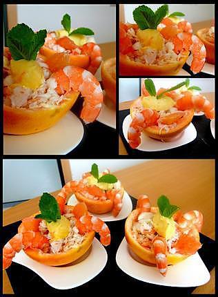 recette Pamplemousse rose au crabe