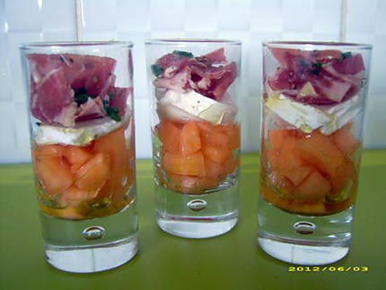 recette verrines melon-coppa