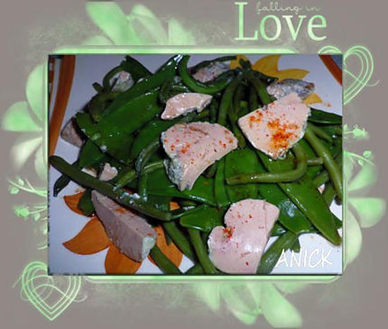 recette Haricots verts et pois gourmands, foie gras et piment d'Espelette