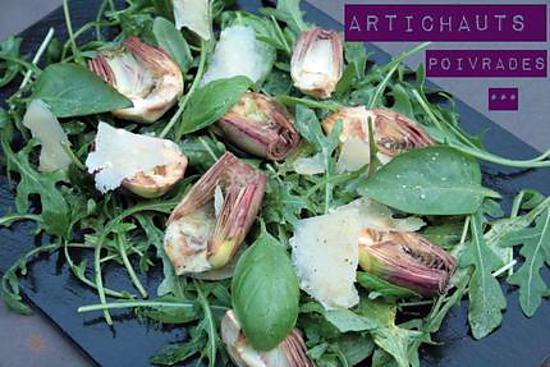 recette Salade d'Artichaut violet cru dit poivrade, parmesan & basilic