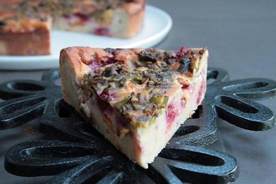 recette Pudding fruité Pêche, framboise et pistache { fruits d'été }