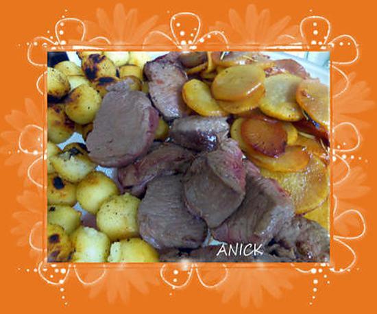 recette Filet de chevreuil ,  pommes de terre noisette et daïkon