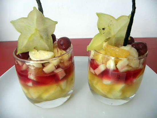 recette de verrines de fruits exotiques au sirop de roses