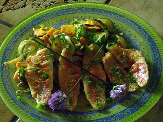 recette filets de rouget aux légumes croquants