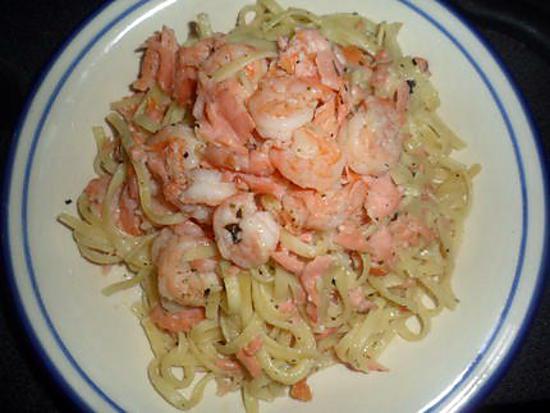recette de p 226 tes au saumon fum 233 et aux crevettes tigr 233 es ail ail ail