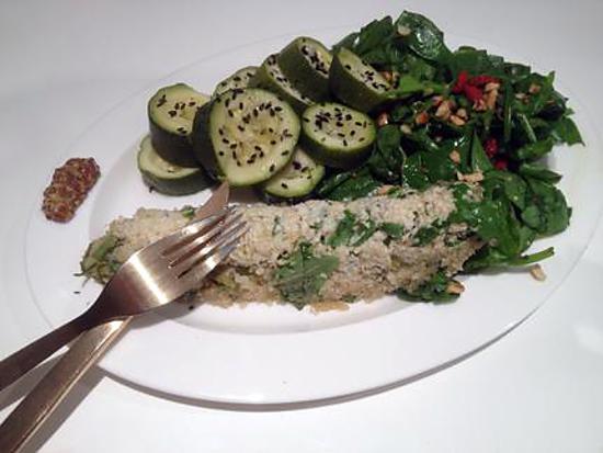recette Quenelles de quinoa, salade d'épinards aux noisettes et baies de goji