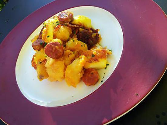 recette Poêlée de pommes de terre aux seiches et chorizo