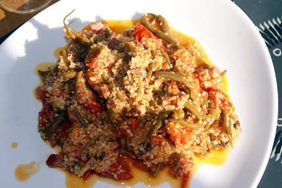 recette Haricots verts aux tomates et aux lardons à ma façon