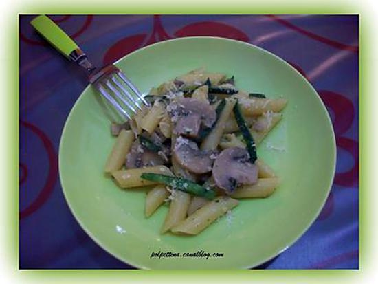 recette Penne, courgettes et champignons.