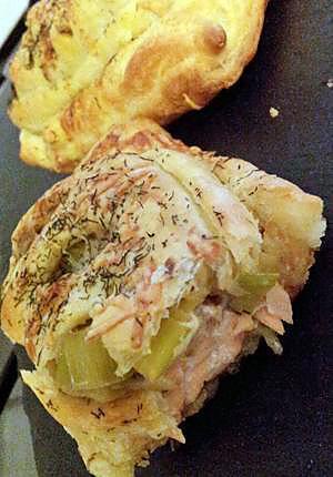 recette Friand au saumon grillé au miel et fondue de poireaux