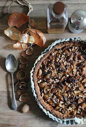 recette Tarte aux cèpes, oignons glacés, roquefort et noix