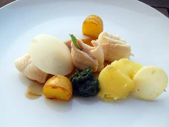 recette Filets de sole, grenailles, épinard et jus de veau à l'estragon