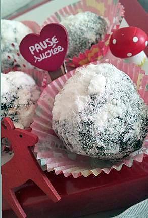 recette Truffes de neige au chocolat et son coeur meringué