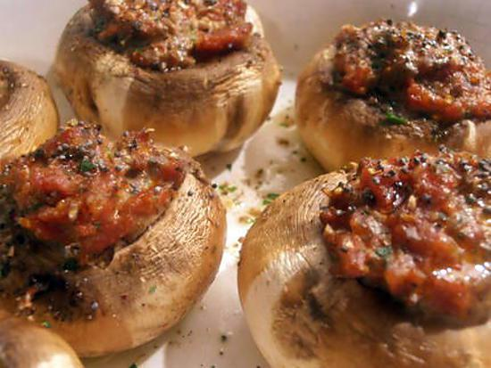 recette champignons farcis au chorizo, graines de pavot