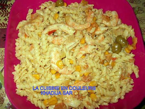 recette Pâtes aux crevettes et au mais