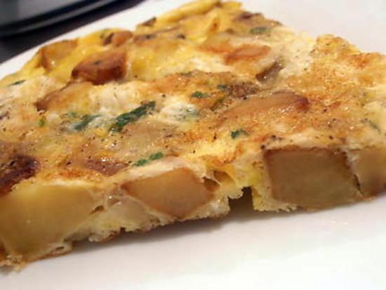 recette omelette aux cubes de pommes de terre et petites échalotes