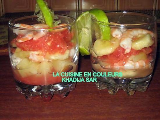 recette verrines sucrées-salées(ananas,bananes,crevettes pamplemousses)