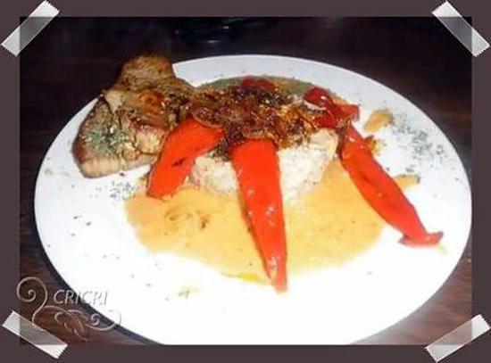 recette Thon grillé et piments rouges , duo de riz