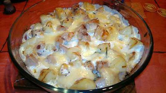recette Gratin de boudin blanc au Chaource et Moutarde à l'ancienne recette revisitée par MARCVIP