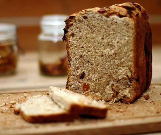 recette Pain complet sucré au son de blé et huile de noix, aux 1001 fruits secs