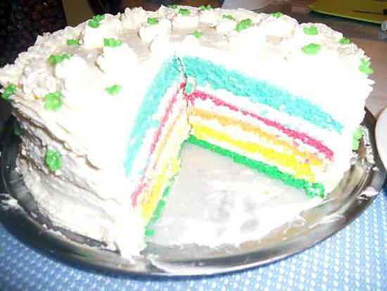 recette Gâteau  d'anniversaire  arc-en-ciel
