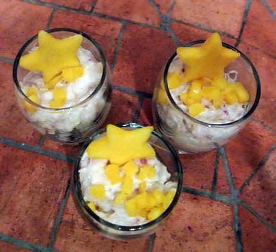 recette Verrine crabe mangue et framboises