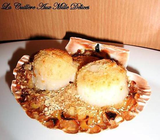 Les meilleures recettes de coquille st jacques fondue de - Coquille st jacques sur lit de poireaux ...