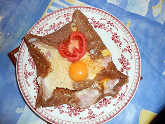 recette galette: jambon, oeuf, fromage