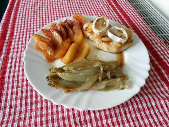 recette Blancs de poulet gratinés au chèvre, pommes et endives caramélisées.