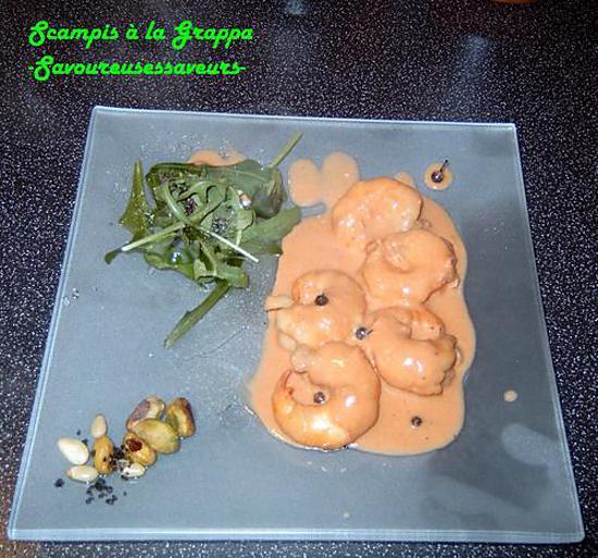recette SCAMPI A LA GRAPPA ET LEUR CHIPS DE CAVIAR D'AUBERGINE