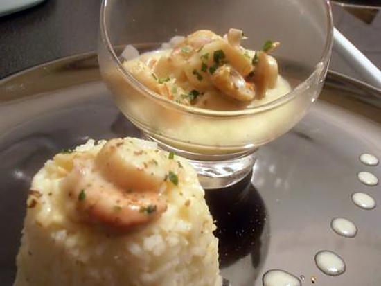 recette noix de saint-jacques au curry et sa timbale de riz parfumé (saint valentin)