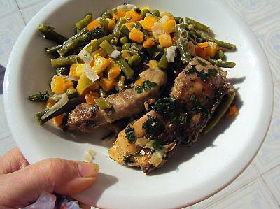 recette Poulet grillé, mixed de légumes à la crème.